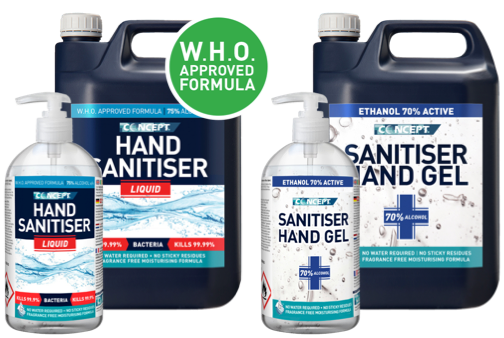 picture of Concept hand sanitisers in containers