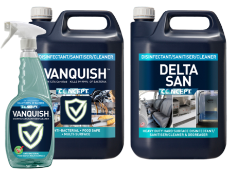 picture of Concept Vanquish and Delta San sanitisers in containers